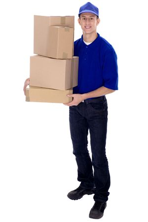 carry: Delivery man carrying boxes