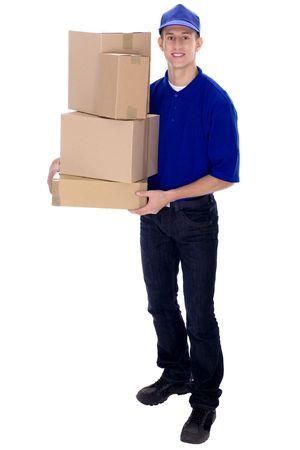 boite carton: Livraison homme portant des bo�tes Banque d'images