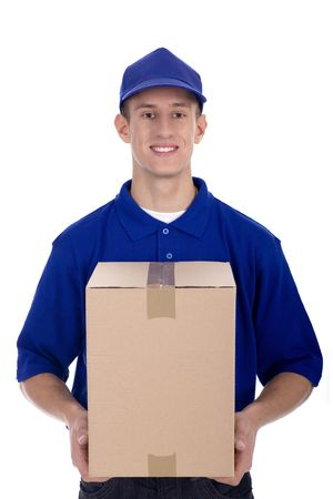 delivering: Delivery man carrying cardboard box