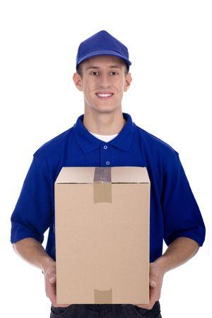 pappkarton: Lieferung Mann mit Karton