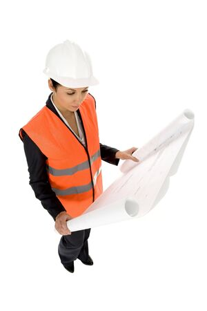 Woman with Blueprints Stock Photo - 3791016