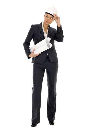 Female architect holding blueprints Stock Photo - 3791013