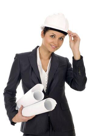 beautifull woman: Female architect holding blueprints Stock Photo