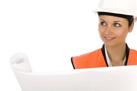 Woman in hardhat, holding blueprints Stock Photo - 3796333