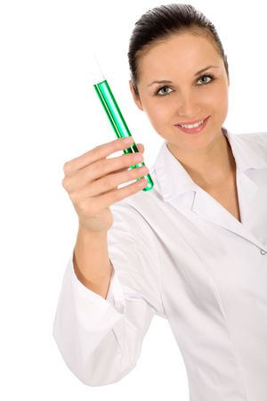 Doctor with test tube photo