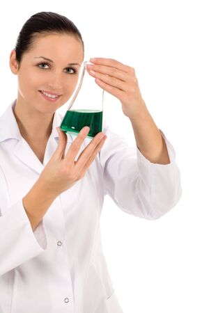 Female lab worker holding flask photo
