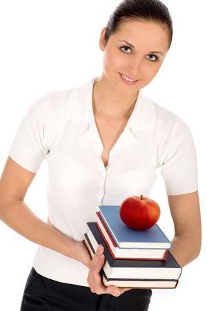 Female teacher holding books photo