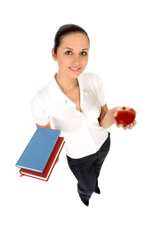 Female teacher holding books photo