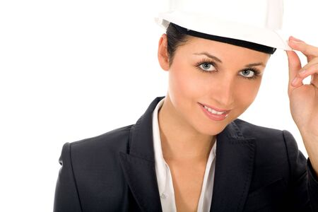 Businesswoman wearing hardhat  photo