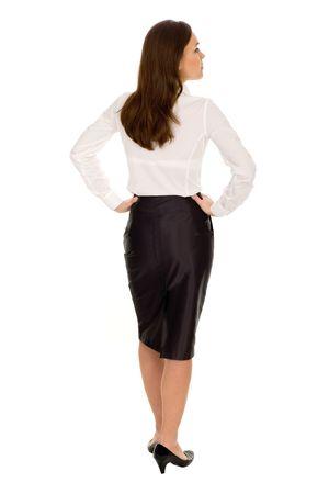 Geschäftsfrau, hinten Standard-Bild