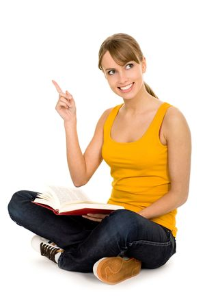 Female student reading book photo