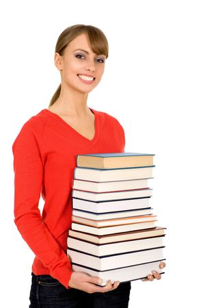 Young woman holding books photo