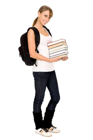 Teenager with books photo