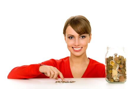 Woman with jar of coins photo