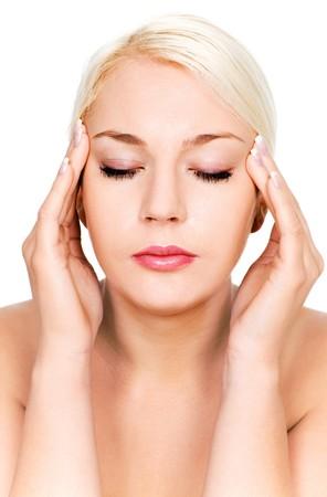 Woman with headache Stock Photo - 4164406