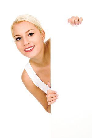 Female holding sign Stock Photo - 4164378