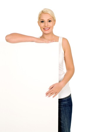 Woman holding blank billboard photo