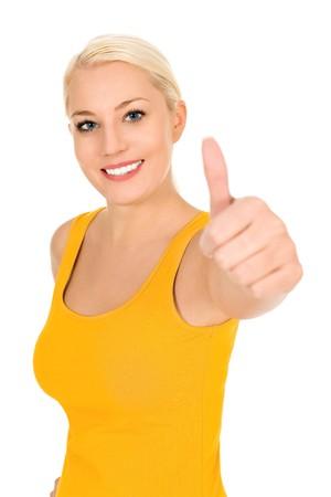 pulgar levantado: Chica con el pulgar arriba