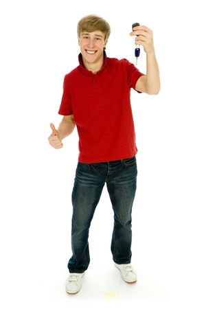 car keys: Young man holding car keys Stock Photo