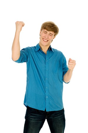 Man clenching fists and laughing Stock Photo - 4316365