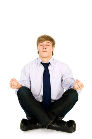 Businessman sitting in lotus position  photo