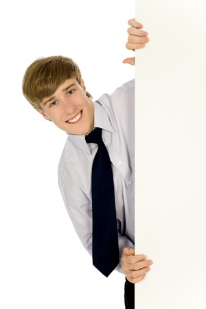 ad: Man holding blank paper Stock Photo