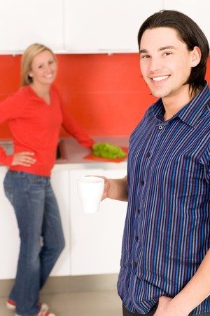 Couple in kitchen photo