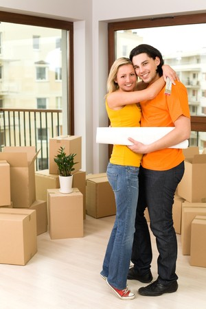 Couple in new home photo