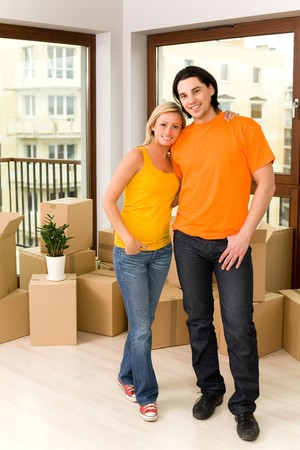relocating: Couple in new home Stock Photo