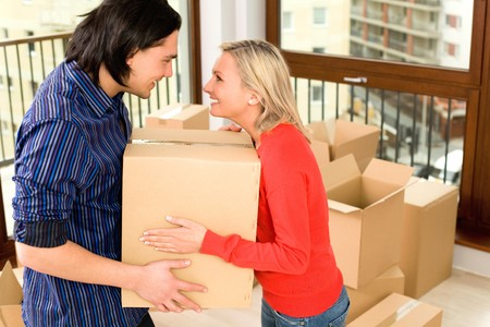 Couple Moving Into New Home photo