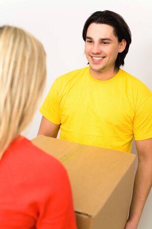 Couple holding box photo