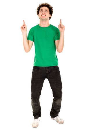 Young man pointing photo