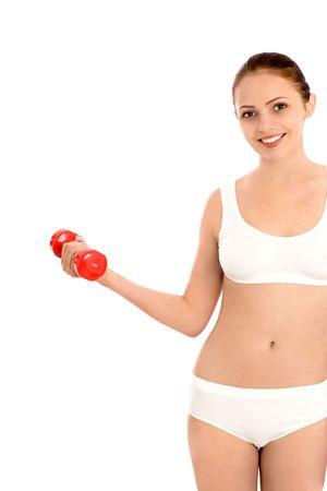 Woman lifting weights photo