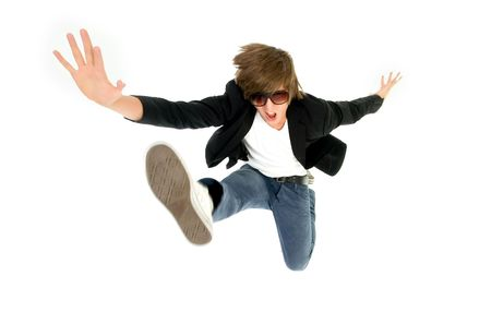 Young man leaps in air photo
