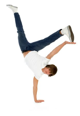upside down: Man Balancing on One Hand