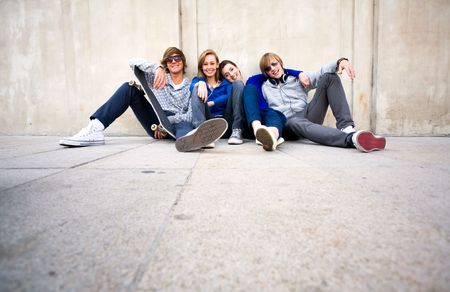 Group of young friends Stock Photo - 5619834