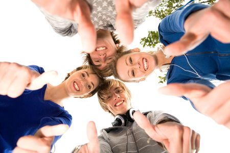Friends with thumbs up Stock Photo - 5619831