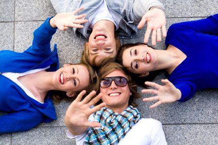 Friends waving hands Stock Photo - 5644839