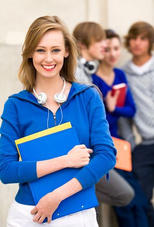 Female student with friends Stock Photo - 5644851