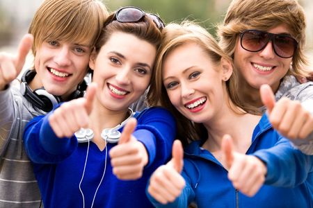 Friends with thumbs up Stock Photo - 5644886