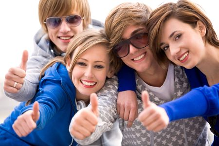 Friends with thumbs up Stock Photo - 5644857