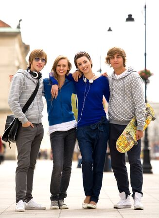 urban youth: Four Young Teenagers Stock Photo