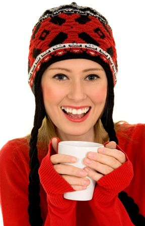 Woman with hot drink photo