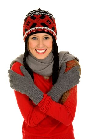 shivering: Girl in Winter Clothing  Stock Photo