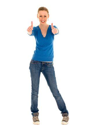 mujer cuerpo completo: Mujer joven con los pulgares para arriba