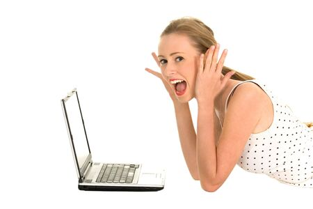 Surprised girl with laptop Stock Photo - 5830649
