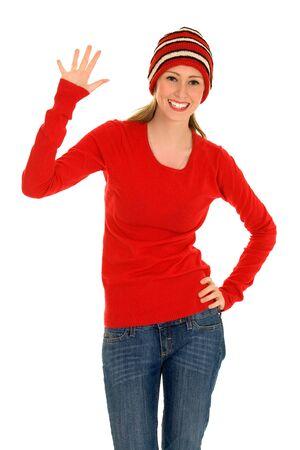 gente saludando: Joven mujer sonriendo