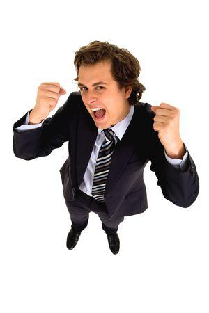 clenching: Businessman clenching fists