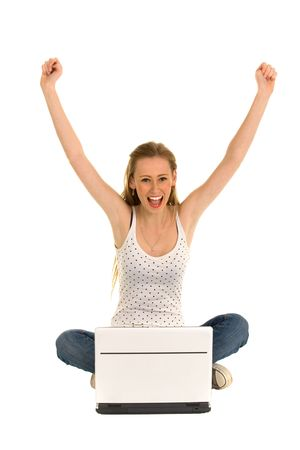 arms raised girl: Woman with laptop