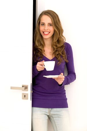Woman with cup of coffee photo